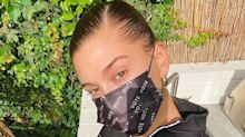 Hailey Bieber Wore a Disposable 'Vote' Mask That's Bound to Sell Out