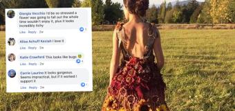 Bizarre sunflower wedding gown raises eyebrows