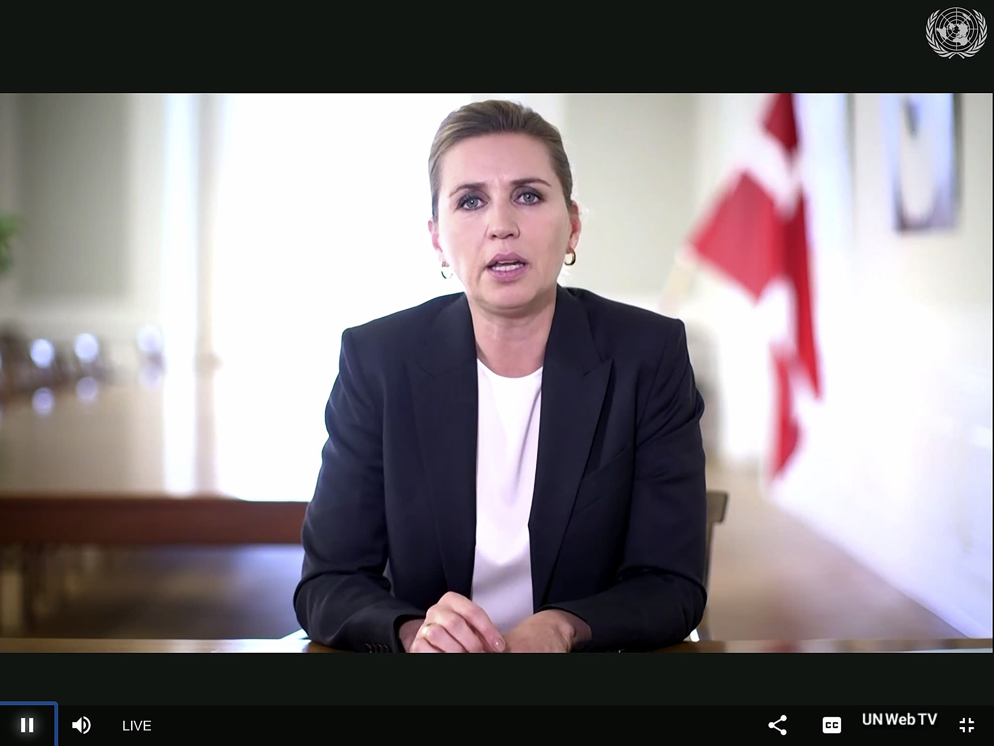 In this photo made from UNTV video, Mette Frederiksen, Prime Minister of Denmark, speaks in a pre-recorded message which was played during the 75th session of the United Nations General Assembly, Wednesday, Sept. 23, 2020, at UN Headquarters. (UNTV Via AP )