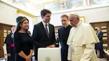 Trudeau makes pope smile -- a little