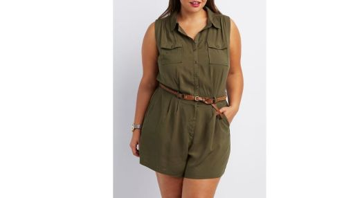 Charlotte Russe Button-Up Shirt Cargo Romper $29