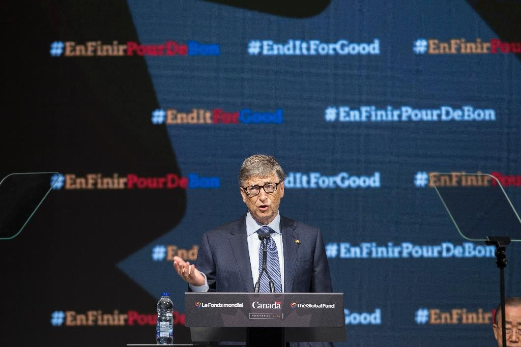 Philanthropist Bill Gates speaks at the Fifth Replenishment Conference of the Global Fund to Fight AIDS, Tuberculosis and Malaria in Montreal, Quebec, on September 17, 2016 (AFP Photo/Geoff Robins)