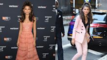 Zendaya wore two gorgeous peachy pink looks in one day