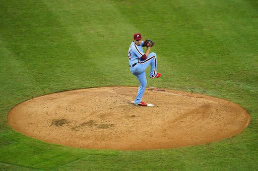 Philadelphia Phillies' Jose Alvarez pitches during the fifth inning of a baseball game against the Baltimore Orioles, Thursday, Aug. 13, 2020, in Philadelphia. (AP Photo/Matt Slocum)