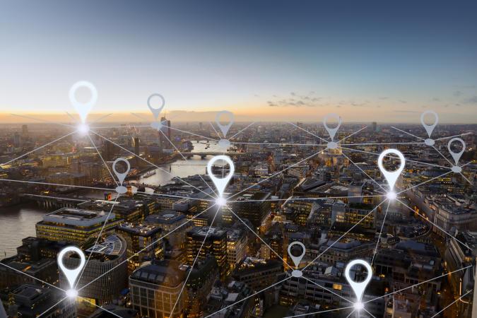 Network gps navigation modern city future technology