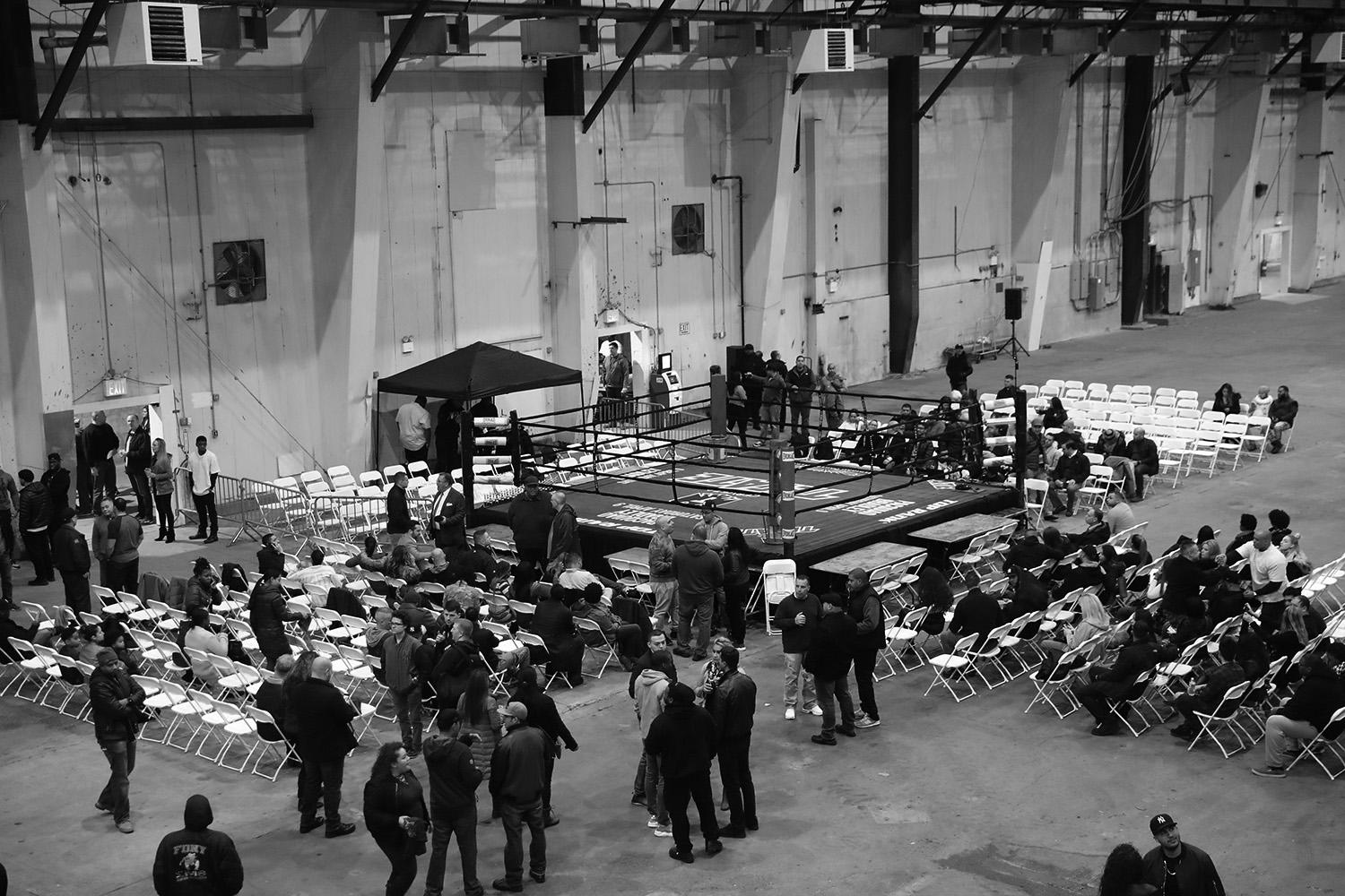 """<p>A shuttered fertilizer plant in the Hunts Point section of the Bronx served as the latest venue for the NYPD boxing event """"Bronx Tough Turkey Tussle"""" in the Bronx, New York, on Nov. 16, 2017. (Photo: Gordon Donovan/Yahoo News) </p>"""