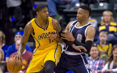 Paul George and Russell Westbrook should be a potent duo next season. (AP)
