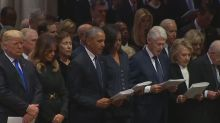Twitter goes after Donald Trump for not reciting Apostles' Creed or singing hymns at Bush funeral