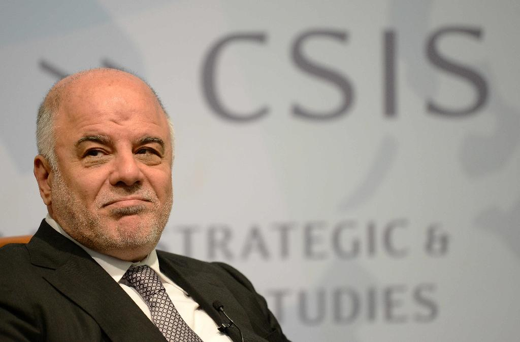 Iraqi Prime Minister Haider al-Abadi speaks at the Center for Strategic and International Studies (CSIS) in Washington, DC, April 16, 2015
