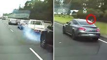 Mercedes driver defended after appearing to force crash on highway
