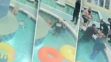 Terrifying moment underwater suction pipe traps boy in pool for nine minutes