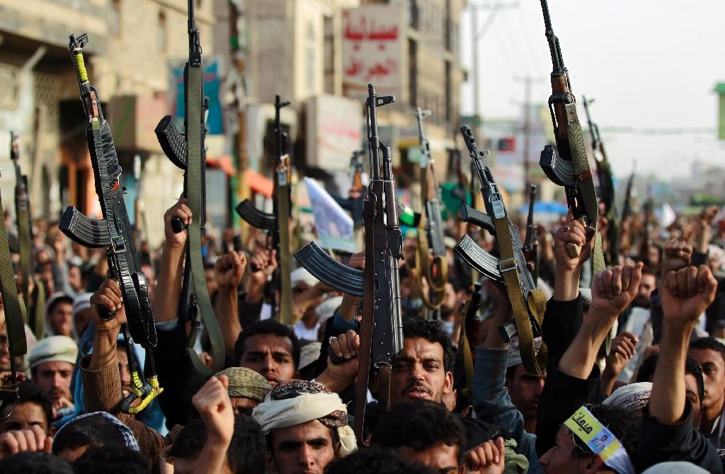 Yemeni supporters of the Shiite Huthi rebel group take part in a demonstration against the air strikes by the Saudi-led coalition, on April 27, 2015 in the capital Sanaa (AFP Photo/Mohammed Huwais)