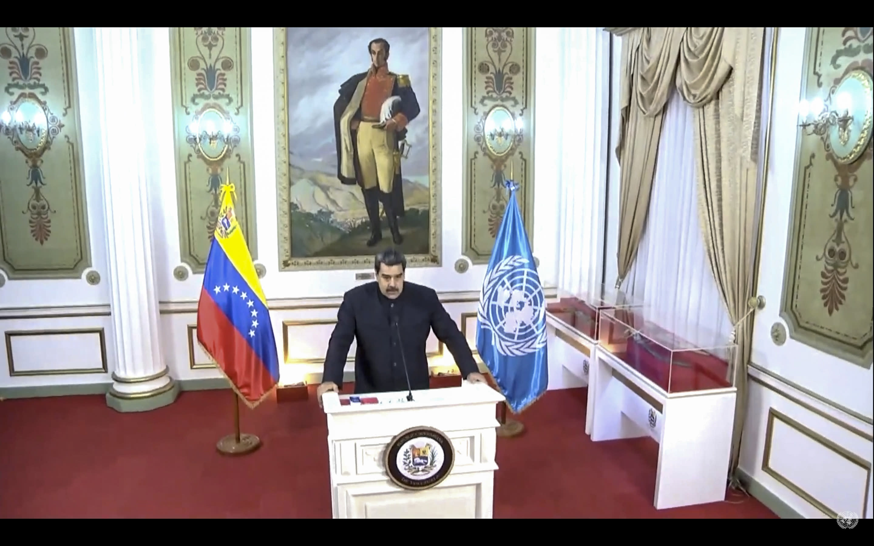 In this UNTV image, Nicolás Maduro Moros, President of Venezuela, speaks in a pre-recorded video message during the 75th session of the United Nations General Assembly, Wednesday, Sept. 23, 2020, at UN Headquarters. Protests against racial injustice aren't just part of the United States' national conversation. America's foes have taken note too, using the demonstrations and images of police violence to criticize the country at the U.N. General Assembly this year. (UNTV via AP)