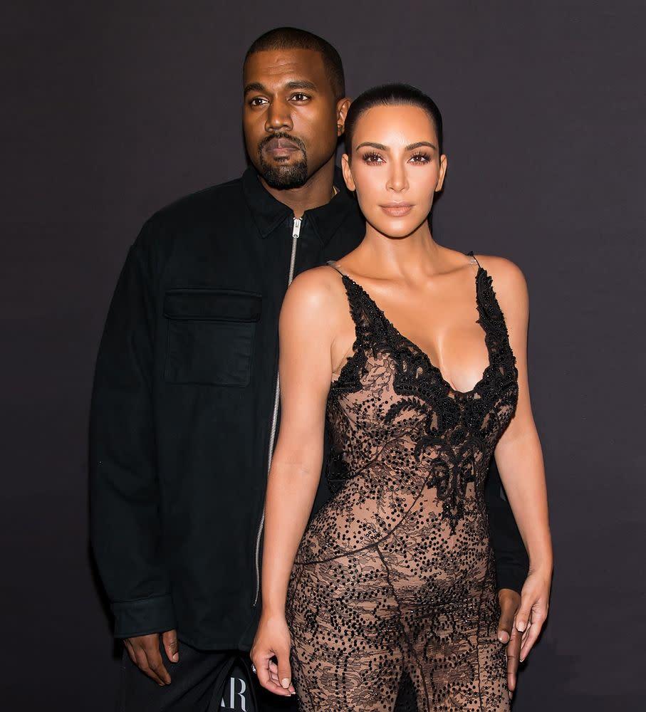 Kim Kardashian looks at naked figure of herself at Kanye