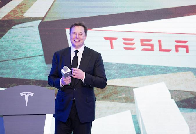 SHANGHAI, Jan. 7, 2020-- Tesla CEO Elon Musk attends an opening ceremony for Tesla China-made Model Y program in Shanghai, east China, Jan. 7, 2020.   U.S. electric carmaker Tesla officially launched its China-made Model Y program in its Shanghai gigafactory Tuesday, one year after the company broke ground on its first overseas plant. The first batch of China-produced Model 3 sedans was also delivered to its non-employee customers at an opening ceremony for the program. (Photo by Ding Ting/Xinhua via Getty) (Xinhua/Ding Ting via Getty Images)