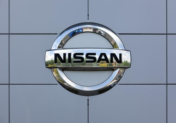 Nissan logo on wall of car dealer's building