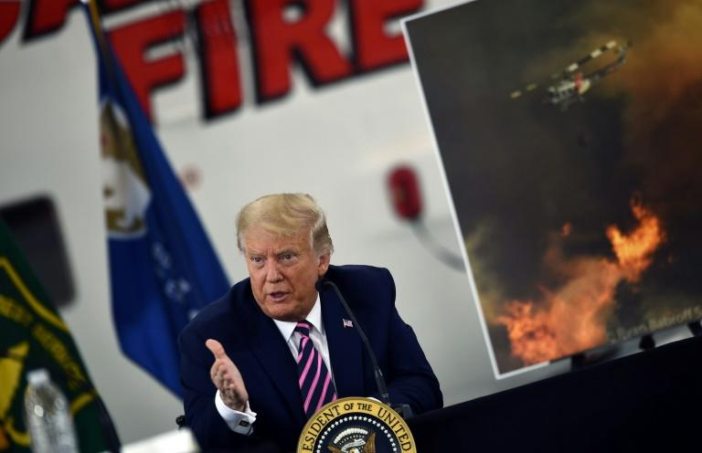 US President Donald Trump, who flew into Sacramento in central California on the third day of a reelection campaign swing, pushed back against state leaders who said climate change underlies ever-stronger wildfires in the region