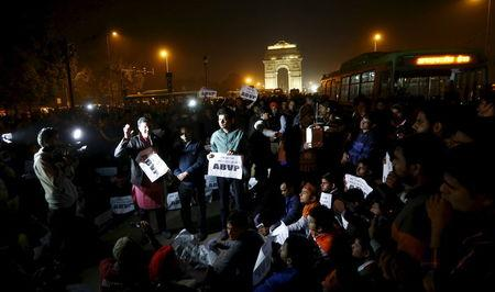 Demonstrators listen to a speaker during a protest against the release of a juvenile rape convict, in New Delhi, India, December 20, 2015. REUTERS/Adnan Abidi
