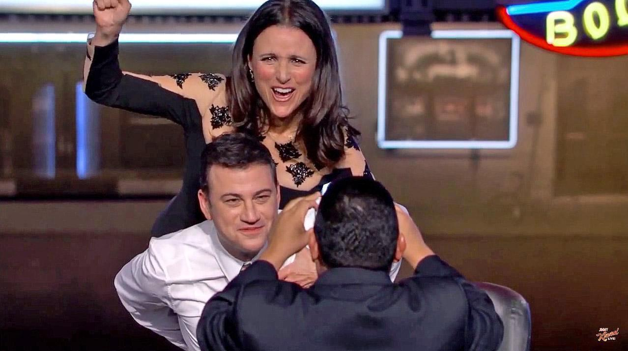 Drunk jimmy kimmel squats with julia louis dreyfus video for Where did julia louis dreyfus go to college