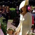 Duchess of Cambridge arrives at the Royal wedding, leaving baby Prince Louis at home