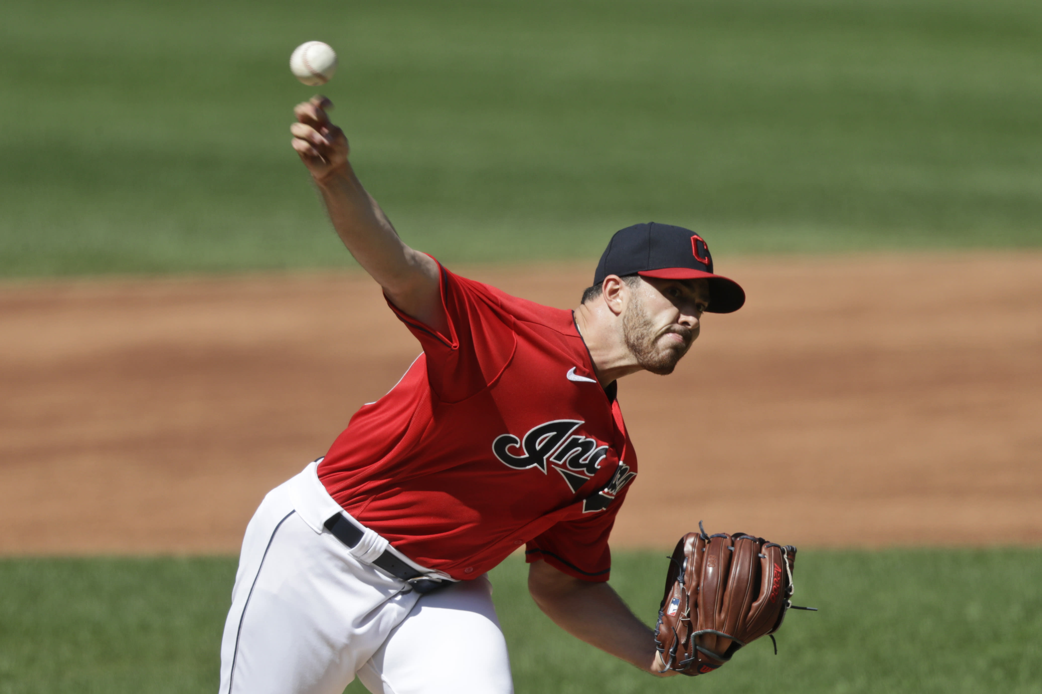 Cleveland Indians pitcher Aaron Civale delivers in the first inning in the first baseball game of a doubleheader against the Chicago White Sox, Tuesday, July 28, 2020, in Cleveland. (AP Photo/Tony Dejak)