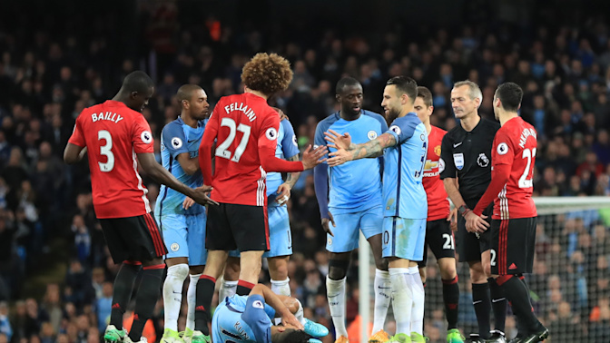 Manchester United hothead Marouane Fellaini sees red in fiery derby draw with City