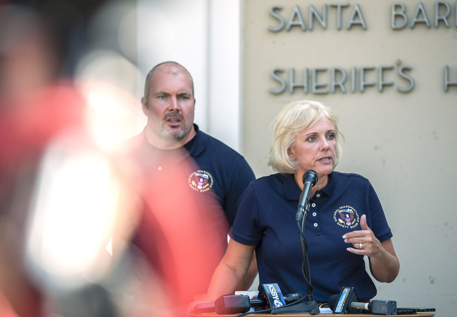 National Transportation Safety Board (NTSB) member Jennifer Homendi, left, with NTSB Investigator-in-charge, Adam Tucker, speaks at a news conference in Santa Barbara, Calif., Tuesday, Sept. 3, 2019. Homendi discussed the ongoing investigation of how the Conception diving boat became engulfed in flames and killed dozens on board. (AP Photo/Christian Monterrosa)