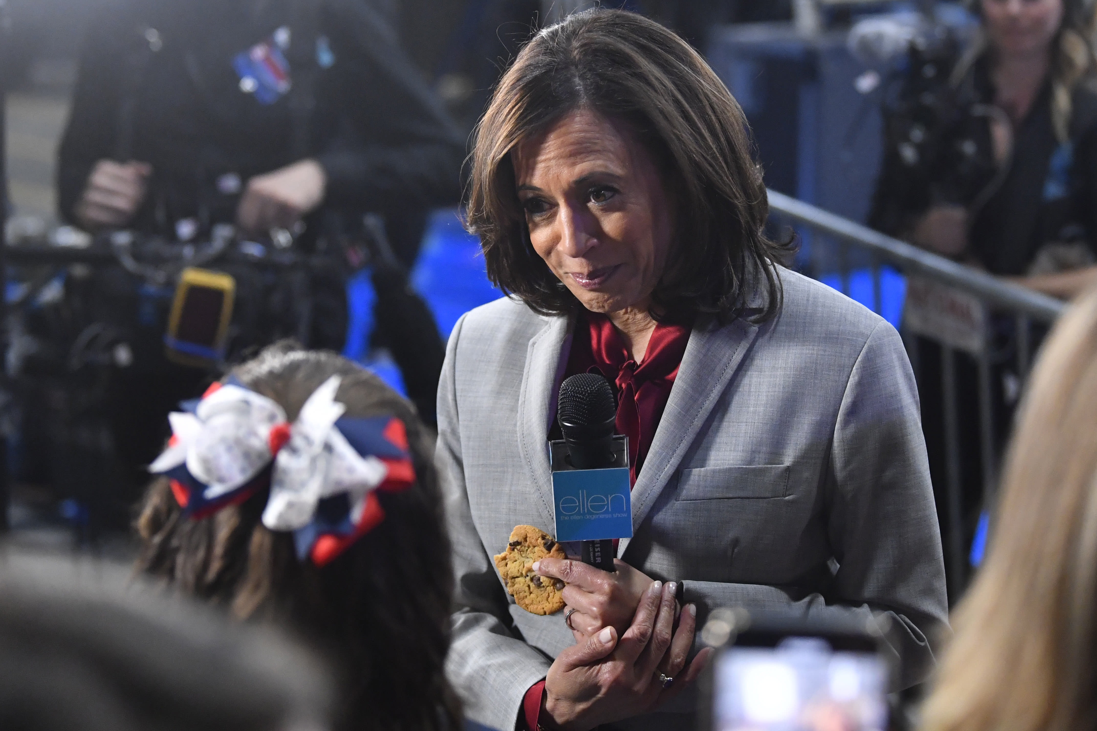 FILE - In this Nov. 21, 2019, file photo, then-Democratic presidential candidate Sen. Kamala Harris, D-Calif., listens to a question in the spin room after a Democratic presidential primary debate in Atlanta. (AP Photo/John Amis, File)