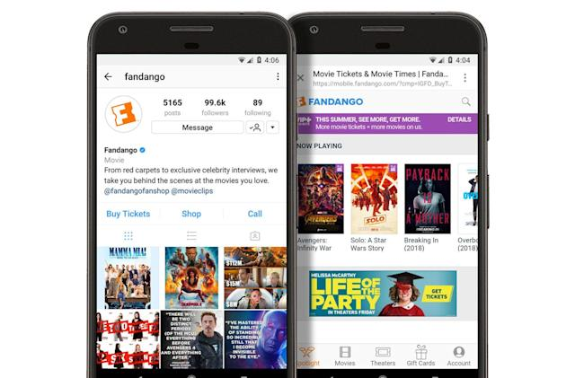 Instagram users can buy movie tickets without leaving the app