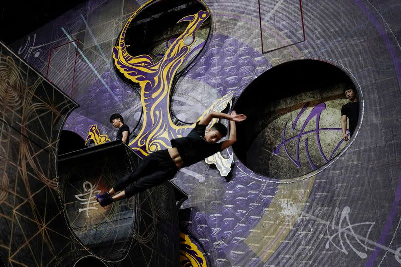 """Performers train for the Cirque du Soleil """"The Land of Fantasy"""" show in Hangzhou"""