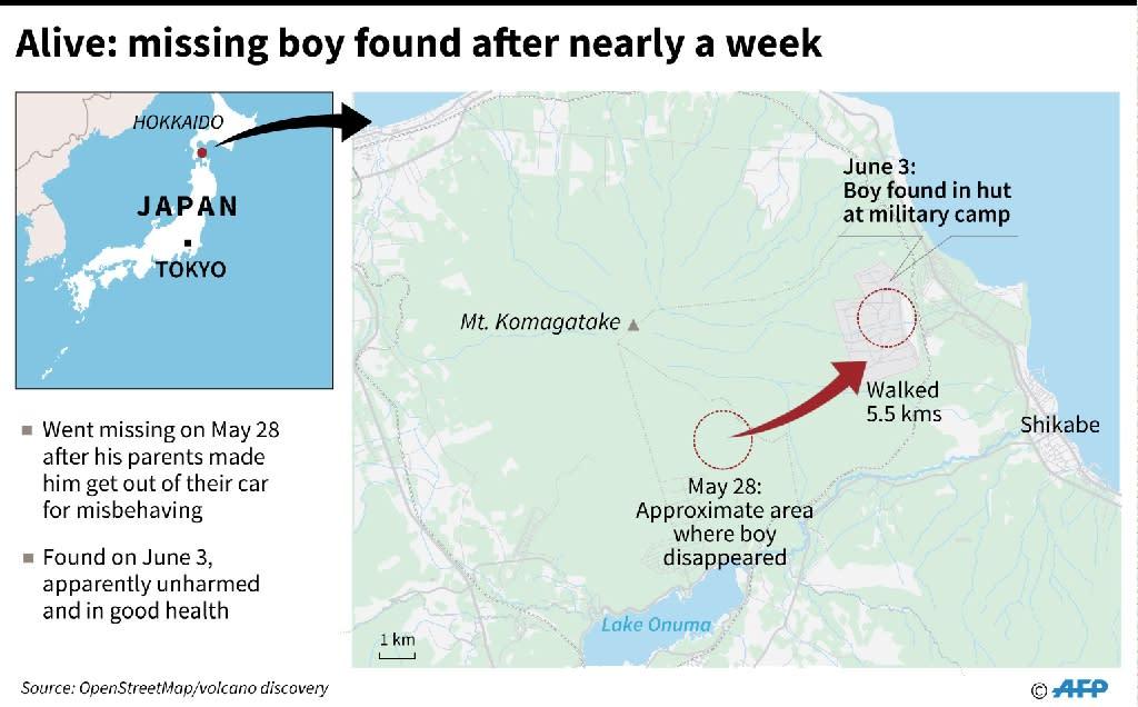Japan boy found (AFP Photo/John Saeki)