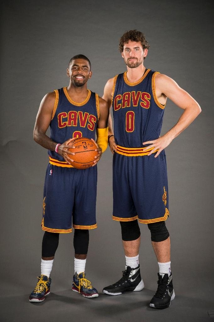 new style 49903 c3f21 Kyrie Irving (L) and Kevin Love of the Cleveland Cavaliers pose during the  Cleveland
