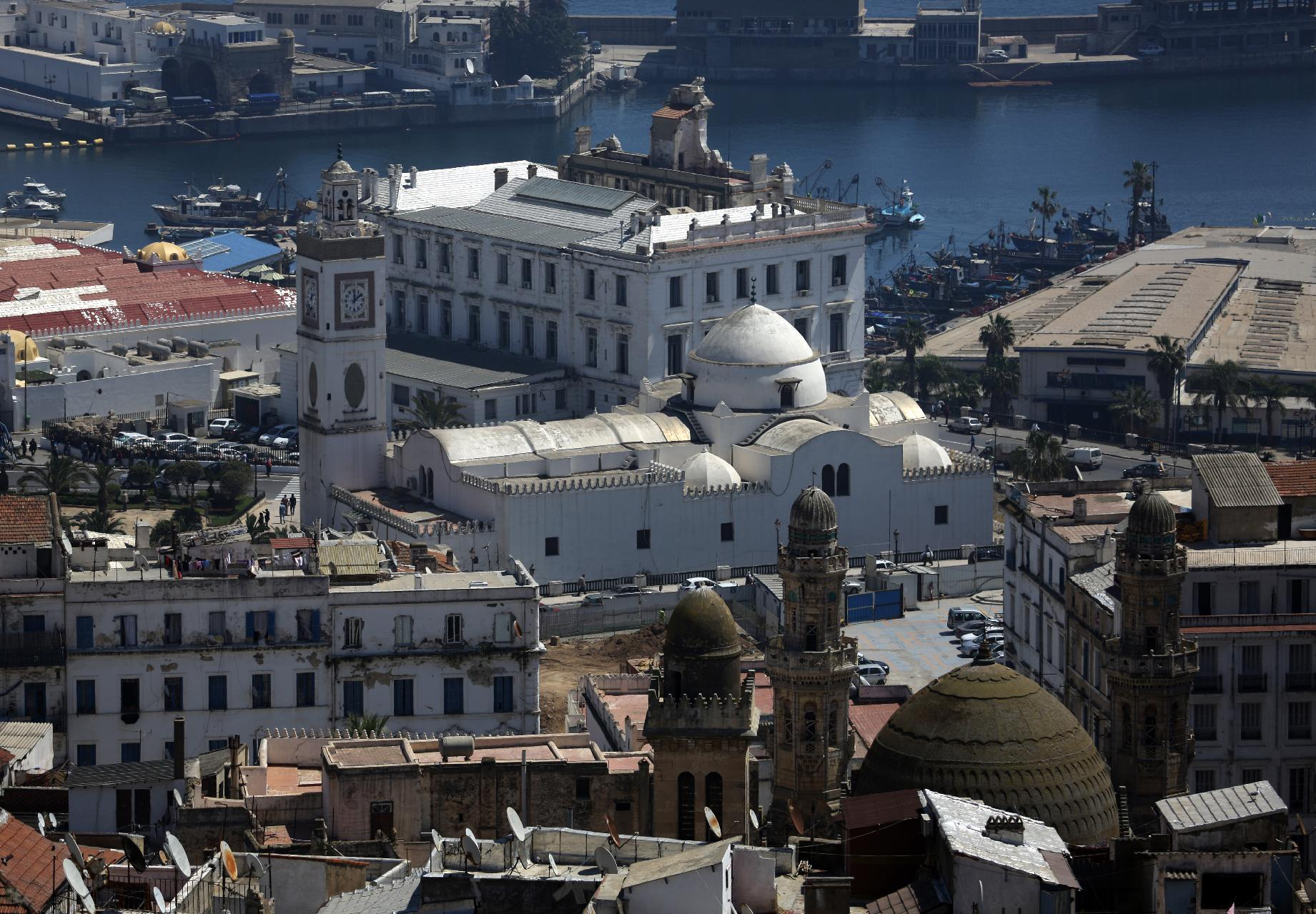 The Great Synagogue of Oran (C-white), which was confiscated and converted into a mosque in 1975 in Algiers, April 16, 2014