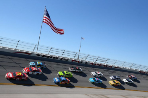 The Geico 500 ran under clear skies at Talladega. (Getty)
