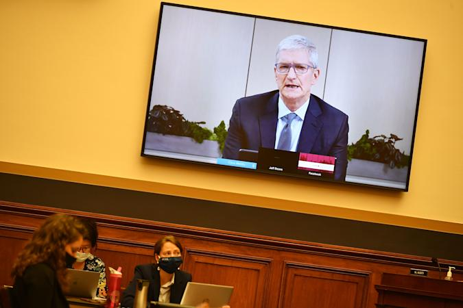 """Apple CEO Tim Cook testifies before the House Judiciary Subcommittee on Antitrust, Commercial and Administrative Law on """"Online Platforms and Market Power"""" in the Rayburn House office Building on Capitol Hill in Washington, DC on July 29, 2020. (Photo by MANDEL NGAN / POOL / AFP) (Photo by MANDEL NGAN/POOL/AFP via Getty Images)"""