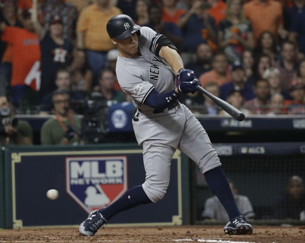 Yankees' rookie Aaron Judge strikes out against Justin Verlander during Game 6 of the ALCS. (AP)