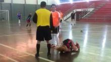 Girl footballer's comical tumble raises a laugh