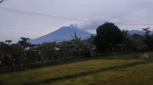 Smoke Pours from Mount Agung Volcano Following Eruption