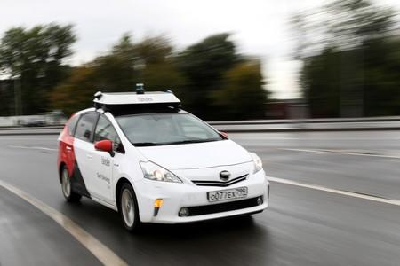 A self-driving car tested by Yandex drives during a presentation in Moscow