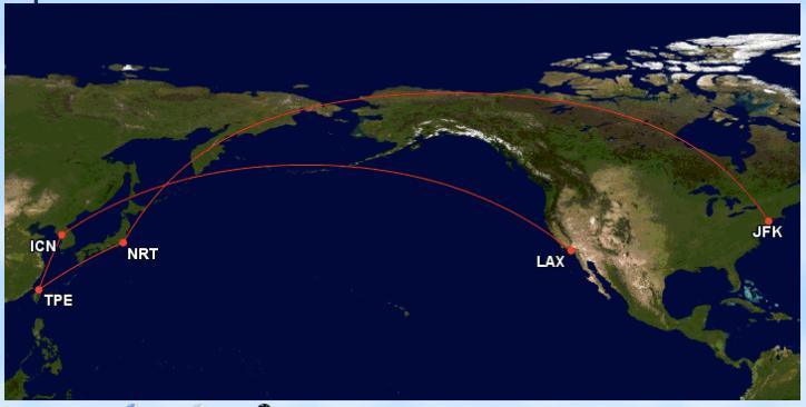 JFK-NRT-TPE-ICN-LAX