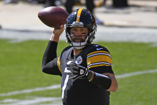 Pittsburgh Steelers quarterback Ben Roethlisberger (7) throws a pass during the first half of an NFL football game against the Denver Broncos in Pittsburgh, Sunday, Sept. 20, 2020. (AP Photo/Don Wright)