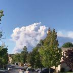 Smoke from Lake Hughes fire seen from homes in Santa Clarita, California