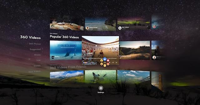 Facebook adds more viewing options to its 360 app for Gear VR