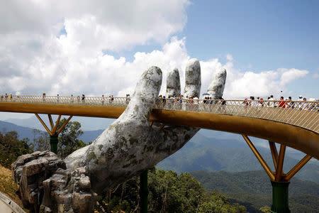 Handy engineering: Vietnam's 'Golden Bridge' has giant support