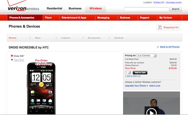 Verizon's Droid Incredible pre-order page is live, delivery on April 29th