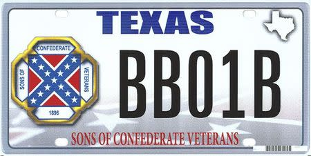 "Handout of the design of a proposed ""Sons of the Confederacy"" Texas state license plate"