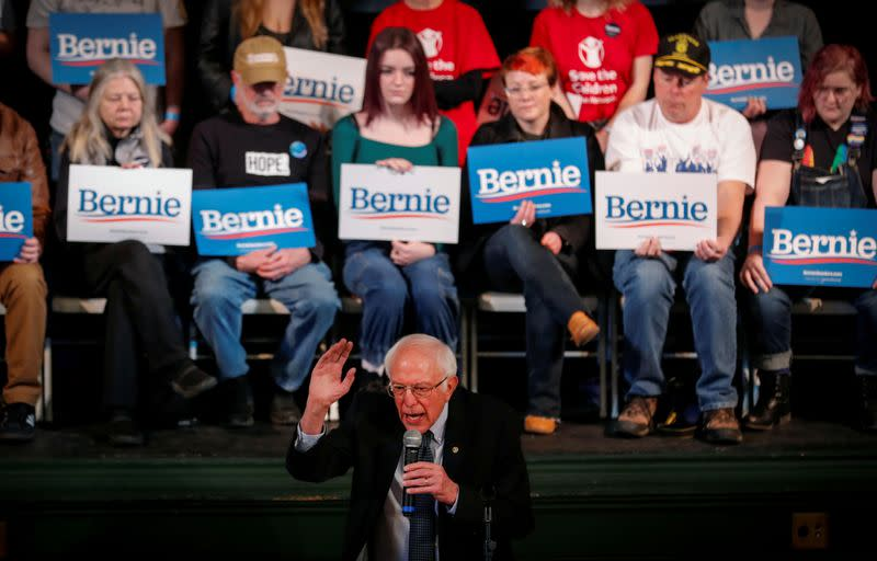 FILE PHOTO: Democratic U.S. presidential candidate Senator Bernie Sanders speaks to voters at a town hall campaign event in Derry