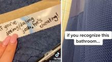 Woman's sneaky bathroom note to bust cheating date