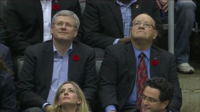 Stephen Harper at Maple Leafs game