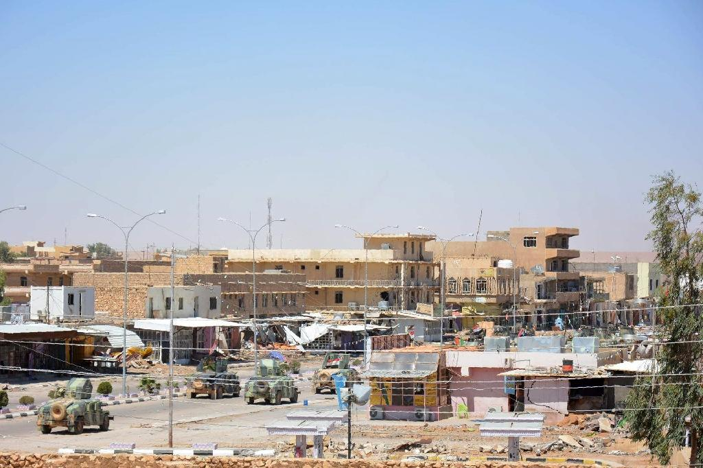 Islamic State fighters attacked a convoy in the town of Rutba, pictured in May 2016, a town that the jihadist group had held since 2014 until they lost it last year to the Iraqi government